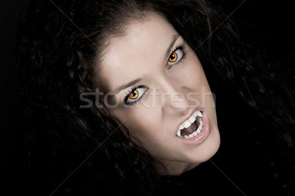 Vampiro pálido cara assustador olhos menina Foto stock © BVDC