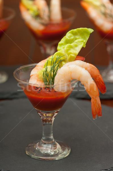 Alimentaire crevettes cocktails fête dîner Photo stock © BVDC