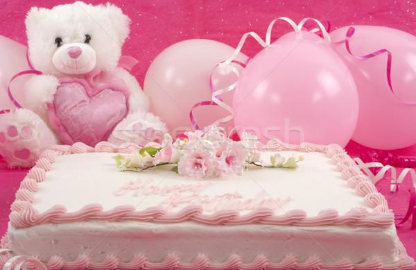 Születésnapi torta finom díszített torta plüssmaci léggömbök Stock fotó © BVDC