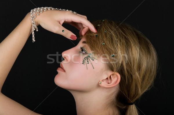 Kozmetika lány hegyikristály smink kéz arc Stock fotó © BVDC