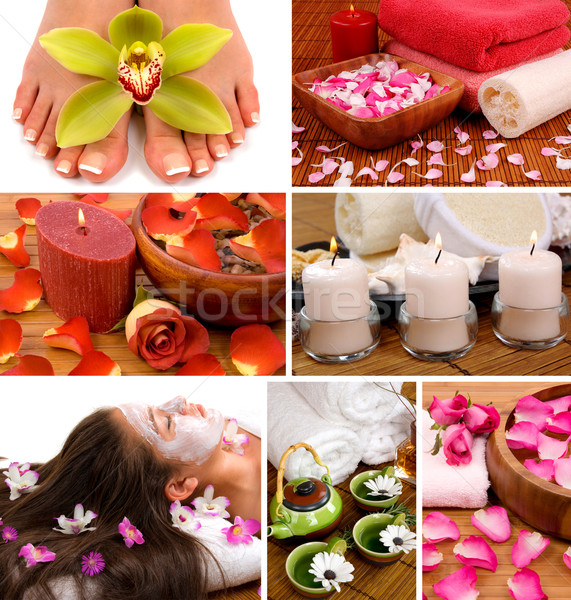 Spa collage aromatherapie pedicure Stockfoto © BVDC