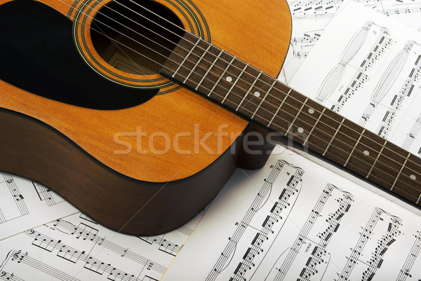 Muzyki muzyki zauważa gitara papieru książki drewna Zdjęcia stock © BVDC
