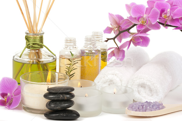 Spa spa-behandeling aromatherapie steen orchidee lepel Stockfoto © BVDC
