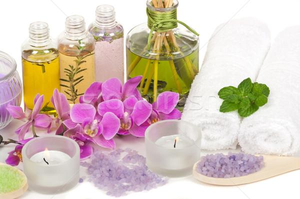 Spa scena aromaterapia olio da massaggio orchidea Foto d'archivio © BVDC