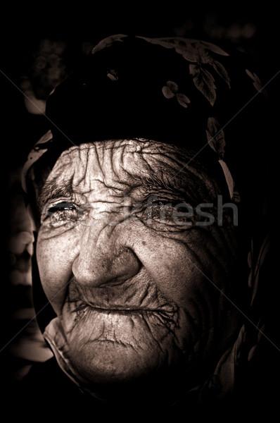 Alten blind Frau nice unglücklich armen Stock foto © BVDC