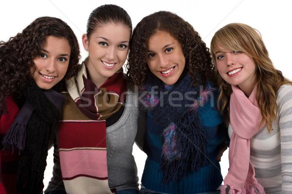 Foto d'archivio: Amicizia · studente · amici · sorridere · freddo · inverno
