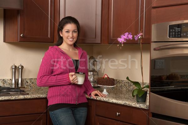 Pitnej kawy herbaty kuchnia pić relaks Zdjęcia stock © BVDC