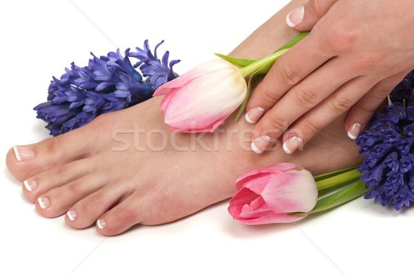 Estância termal pé mãos aromático flores mão Foto stock © BVDC