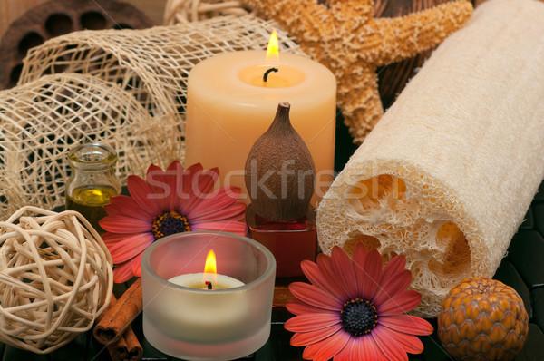 Spa aromatico candele erbe bella margherite Foto d'archivio © BVDC