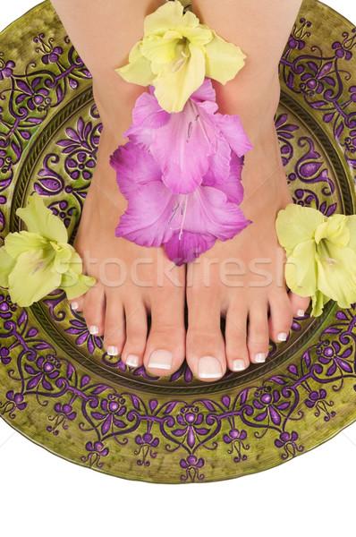 Pedikűr fürdő kéz szépség láb láb Stock fotó © BVDC