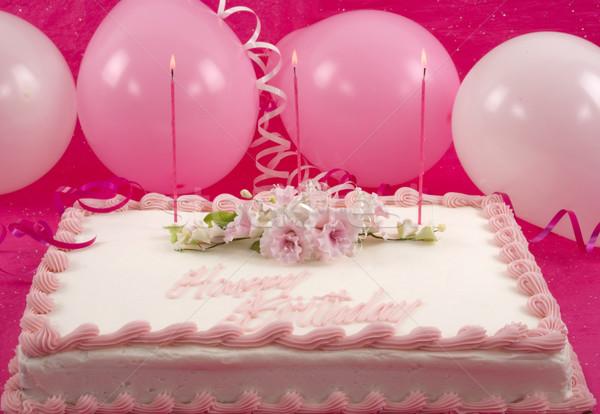 Gâteau d'anniversaire délicieux décoré gâteau ballons fleurs Photo stock © BVDC
