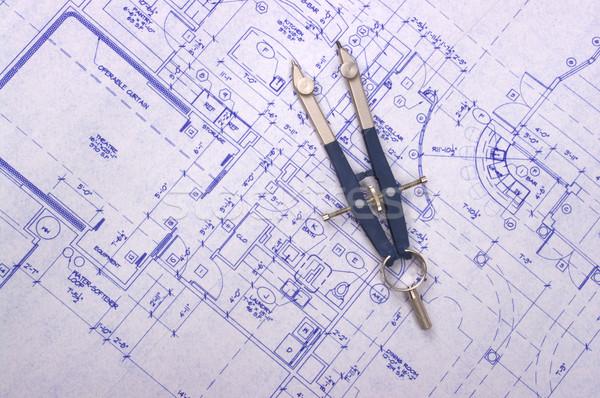 план компас служба дома домой архитектура Сток-фото © BVDC