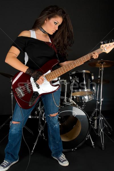 Gry gitara muzyk piękna uzupełnić muzyki Zdjęcia stock © BVDC