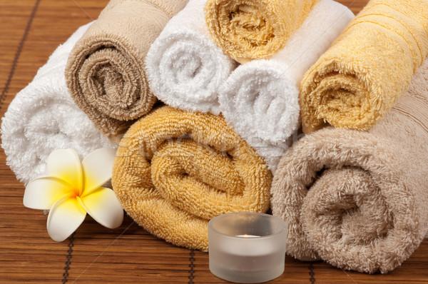 ストックフォト: スパ · アロマセラピー · 温泉療法 · 花 · キャンドル · 竹