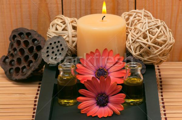 Aromathérapie spa scène boîte bougie Daisy Photo stock © BVDC