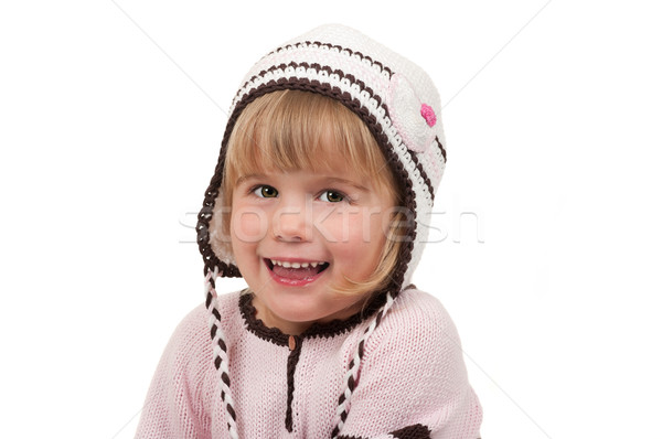 Kind cute gebreid hoed cardigan glimlach Stockfoto © BVDC