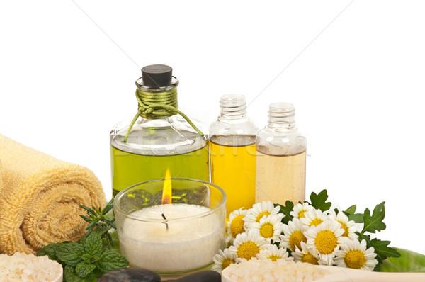Stok fotoğraf: Spa · terapi · aromaterapi · taş · papatya · parfüm