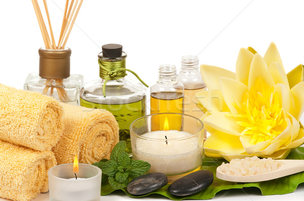 Spa tratamiento de spa aromaterapia piedra perfume algodón Foto stock © BVDC