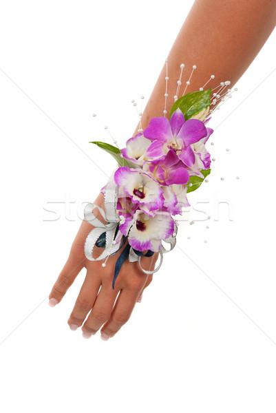 Orquídea prom casamento feminino braço buquê Foto stock © BVDC