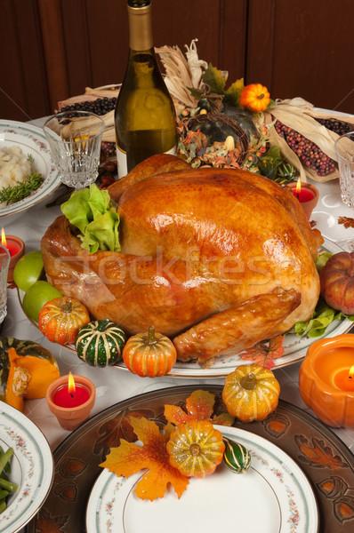 Hálaadás Törökország bor gyertya vacsora tányér Stock fotó © BVDC