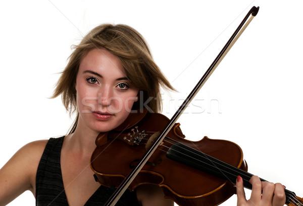 Hegedű lány játszik fehérítő tini tinédzser Stock fotó © BVDC