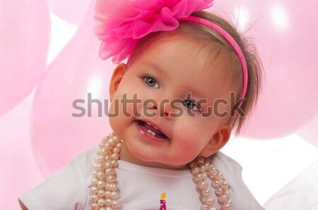 Baba aranyos kislány lány buli arc Stock fotó © BVDC