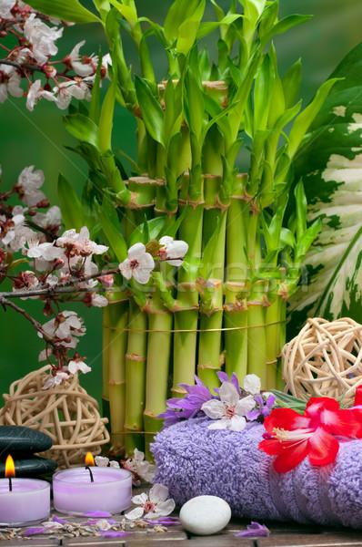 Fürdő aromás gyertyák levendula gyógyító kavicsok Stock fotó © BVDC
