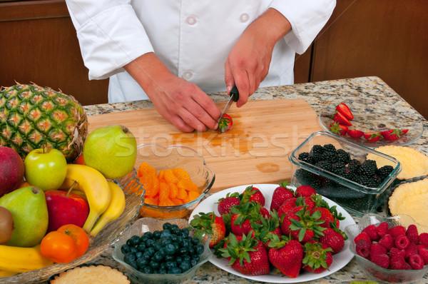 Frutas tarta chef alimentos restaurante Foto stock © BVDC