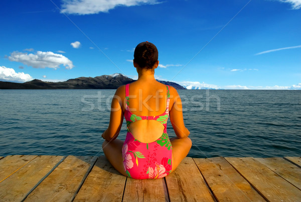 Yoga rilassante sera incredibile Foto d'archivio © BVDC