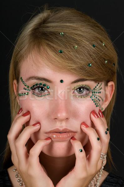 Kozmetika lány hegyikristály smink arc kozmetikai Stock fotó © BVDC