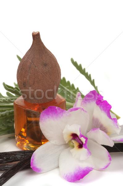Olio da massaggio vaniglia orchidea lavanda fiore vetro Foto d'archivio © BVDC