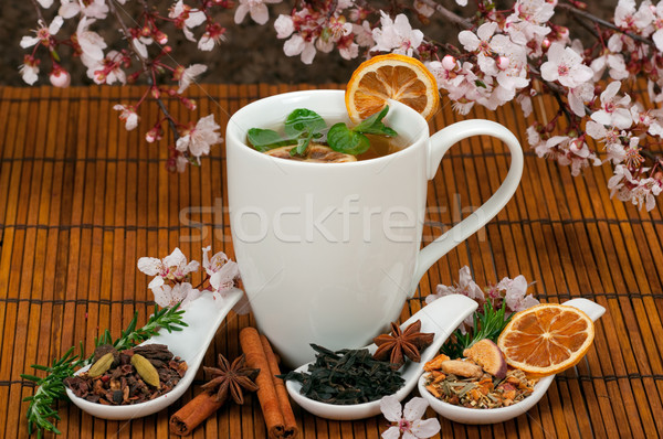 Tea egészséges gyógynövény tea virág citrom csésze Stock fotó © BVDC