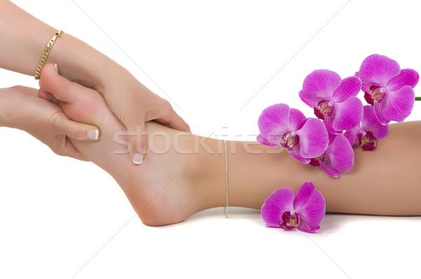 Massage therapie vrouw voorjaar gezondheid ring Stockfoto © BVDC