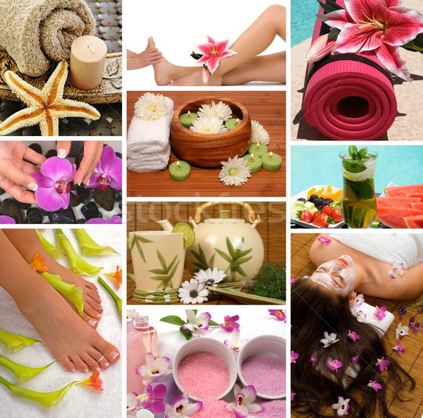 Spa collage spa-behandeling aromatherapie pedicure manicure Stockfoto © BVDC