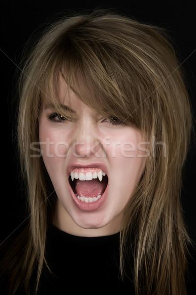 Wampira blady twarz scary oczy usta Zdjęcia stock © BVDC