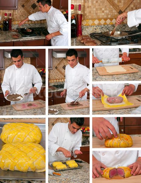 Carne Wellington colagem comida cozinha Foto stock © BVDC