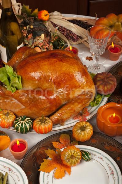 Acción de gracias celebración cena vino vela placa Foto stock © BVDC
