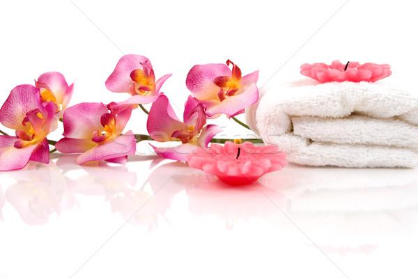 красочный Spa красивой орхидеи полотенце свечей Сток-фото © BVDC