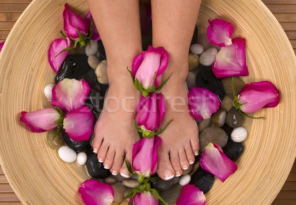 Gyönyörű aromás rózsaszín rózsák ásványvíz fürdőkád Stock fotó © BVDC