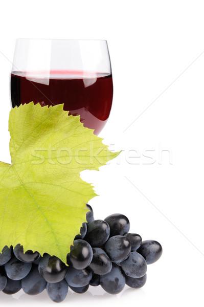 Rama uvas vidrio vino aislado blanco Foto stock © byrdyak