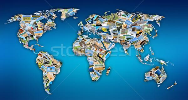 World map with photos Stock photo © byrdyak
