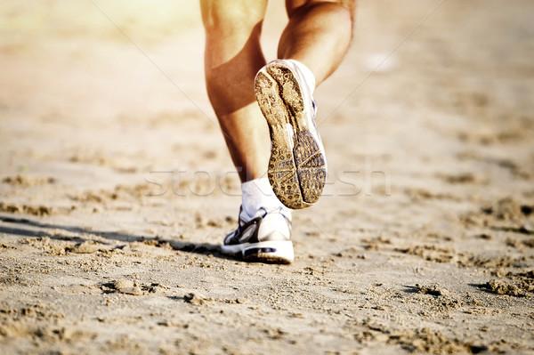 Corredor pé corrida praia sapato Foto stock © byrdyak