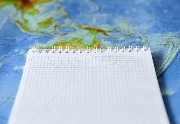 Stok fotoğraf: Defter · harita · dünya · arka · plan · uzay