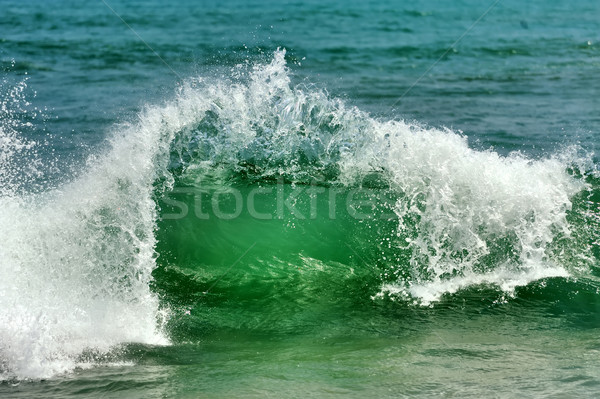 Golf zeegolf oceaan zand strand hemel Stockfoto © byrdyak