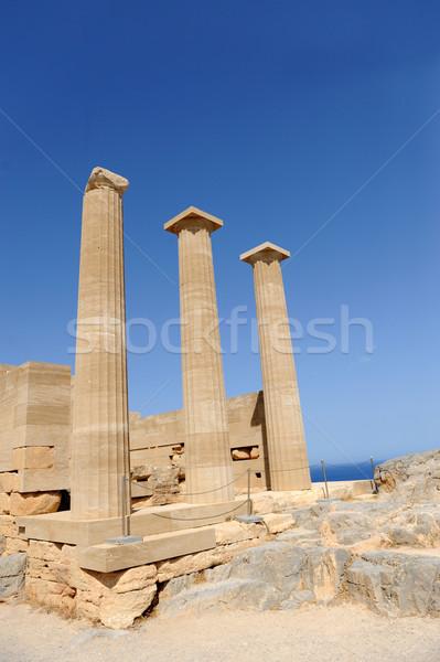 Romok ősi templom sziget Görögország tenger Stock fotó © byrdyak