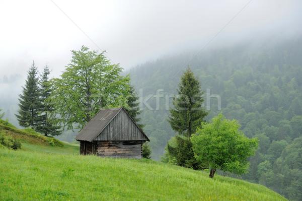 Oude huis berg mist zomer dag huis Stockfoto © byrdyak