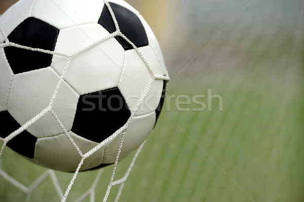 Soccer ball in goal Stock photo © byrdyak