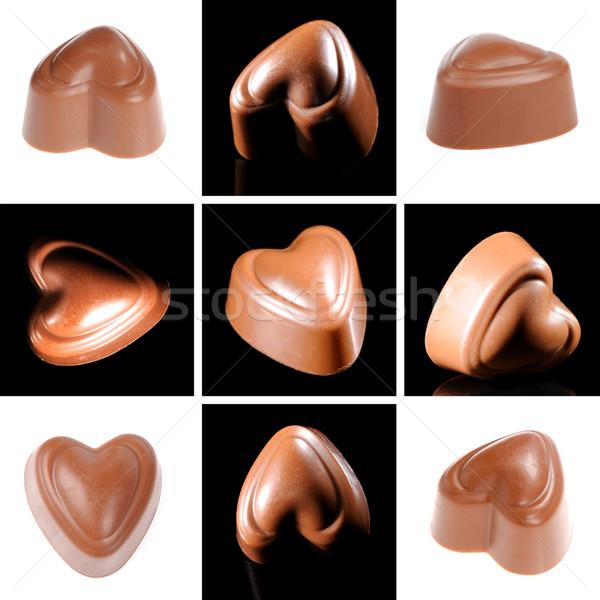 çikolata şeker kolaj süt siyah karanlık Stok fotoğraf © byrdyak