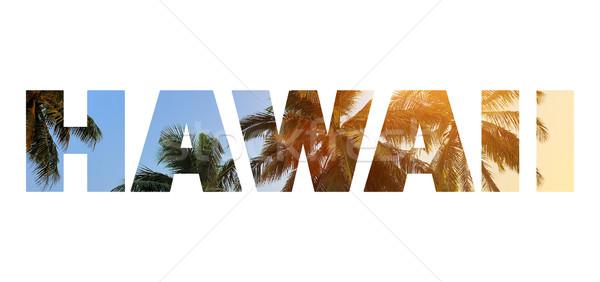 Mot Hawaii lettres plage Palm ciel Photo stock © byrdyak