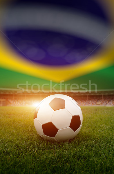 ストックフォト: サッカーボール · フィールド · スタジアム · ブラジル · フラグ · スポーツ